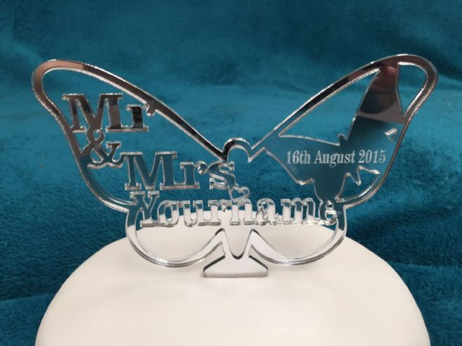 Personalised Mr & Mrs Butterfly Cake Topper 15cm x 10cm - choose from Mirror, Clear or Black